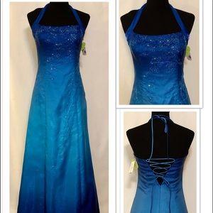 Jump Apparel Windsor Blue Floor Length Dress 7/8